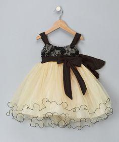 Loving this Chic Baby Gold & Black Bow Dress - Toddler & Girls on #zulily! #zulilyfinds