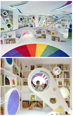 A children's library in Japan! soooo cool, there's stairs they can climb and read in the cubby holes! my dream library