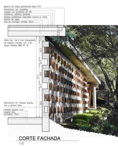 corte fachada Quincho en el bosque / Santiago Viale, Daniella Beviglia