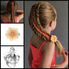 Haarbloem waterlelie oranje op alligator knipje Stacked woven fishtail ribbon braid with a beautiful All Hairstyles, Little Girl Hairstyles, Braided Hairstyles, Ribbon Braids, Christmas Hair, Braid Styles, Hair Dos, Gorgeous Hair, Hair Inspiration