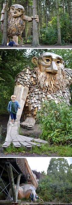 Travel Denmark: Friendly Giants Built From Recycled Wood Hidden in the Forests of Copenhagen Land Art, Banksy, Denmark Travel, Outdoor Art, Tree Art, Public Art, Oh The Places You'll Go, Belle Photo, Sculpture Art