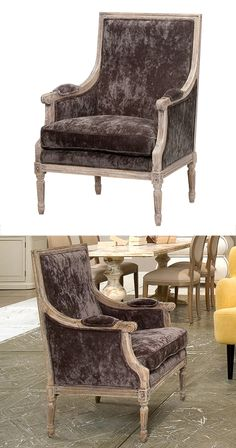 Inspired by formal sitting rooms cloaked in velvet and austerity, this arm chair has all the details, form and function your living space requires. The whitewashed carved oak frame features a textured ...  Find the Asheville Arm Chair, as seen in the Industrial Iridescence Collection at http://dotandbo.com/collections/industrial-iridescence?utm_source=pinterest&utm_medium=organic&db_sku=116813