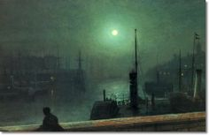 John Atkinson Grimshaw - On The Clyde Glasgow 1879 - Approximate Original Size - 11x17 Painting