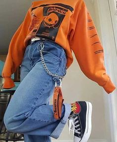 style outfits with over 25 ideas Edgy Outfits ideas Outfits style Indie Outfits, Teen Fashion Outfits, Retro Outfits, Cute Casual Outfits, Look Fashion, 90s Fashion, Casual Jeans, Fashion Vintage, Fashion Brands