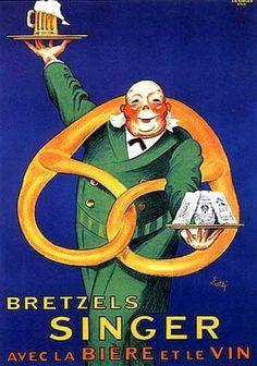 Singer Bretzels vintage ad / poster by Lotti (1930)  man w/ beer mug and huge pretzel #vintage #ad #beer