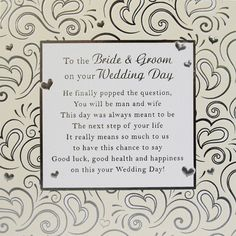 Bride Groom Card Medium 150mm X Wedding Cards With Verses