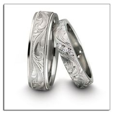 Etched wedding band with small stones :D