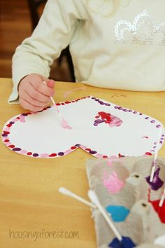 Q-tip Painted Valentines ~  Simple toddler heart craft