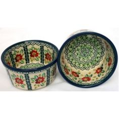 @Overstock - These beautiful dishes are pieces of art in their blue, green, red and white colors in a floral pattern. Made with polished stoneware, this pair of cup ramekins is perfect for anything from soup to ice cream.  http://www.overstock.com/Worldstock-Fair-Trade/Polish-Stoneware-4-cup-Ramekins-Poland/6045387/product.html?CID=214117 $73.35