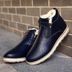 Men PU Leather Warm Plush Lining Side Zipper Casual Boots