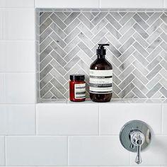 Grey Bathroom Renovation Ideas: bathroom remodel cost, bathroom ideas for small bathrooms, small bathroom design ideas Tile Shower Niche, Bathroom Niche, Bathroom Renos, Basement Bathroom, Bathroom Flooring, Bathroom Interior, Master Bathroom, Bathroom Ideas, Bathroom Marble
