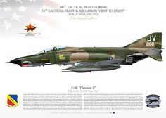 "UNITED STATES AIR FORCE 388TH TACTICAL FIGHTER WING, 35TH TACTICAL FIGHTER SQUADRON ""FIRST TO FIGHT""KORAT, THAILAND. 197212/9/72 Maj. Richard L. Retterbush / 1Lt. Daniel L. Autreycallsign 'FINCH 03' DOWNED MIG-21 WITH M61A1 GUN Military Jets, Military Aircraft, Air Vietnam, F4 Phantom, Korat, Aircraft Painting, Aircraft Design, Us Air Force, Aviation Art"