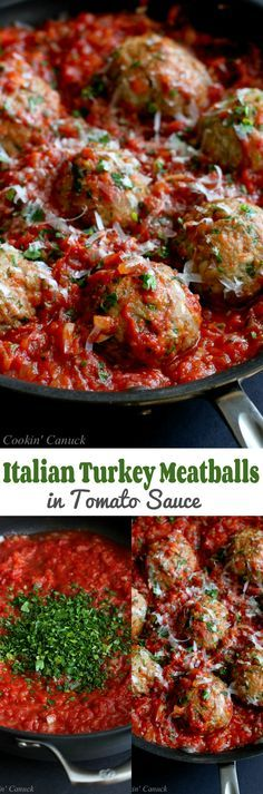 Italian Turkey Meatballs in Tomato Sauce Recipe...Healthy comfort food! 316…