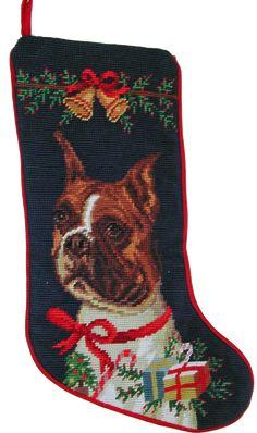 """Cropped Ear Boxer Dog Christmas Needlepoint Stocking - 11"""" x 18"""""""