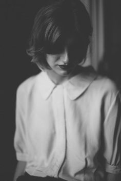 Black and white portrait. Shallow depth of field. - blouses, cute, victorian, loose, fashion, styles blouse *ad