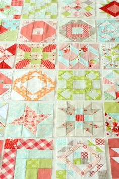 Quilt inspiration - love these colors together and the idea of doing a quilt with squares of all different designs put together.