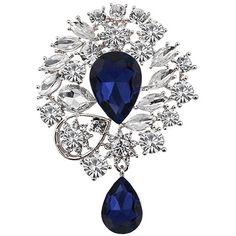 Chic Rhinestone Faux Gemstone Water Drop Brooch For Women