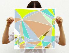 Large Neon Geometric Art Print by Villavera modern artwork