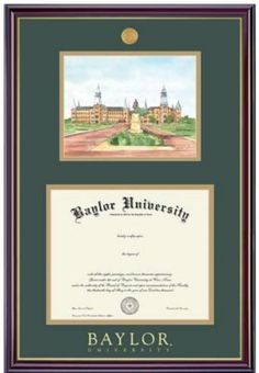 One of many diploma frames available at the #Baylor Bookstore // Baylor University 11x14 Windsor Diploma Frame with Lithograph
