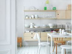 white dining room beech wood units