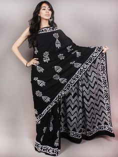 Black White Hand Block Printed Cotton Saree in Natural Colors - S03170835