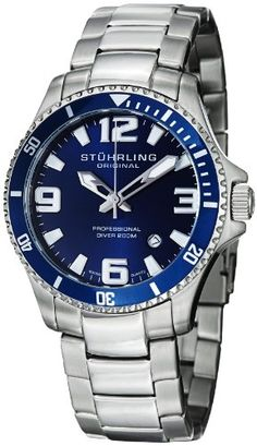 Stuhrling Original Men's 395.33U16 Aquadiver Regatta Champion Professional Diver Swiss Quartz Date Blue Bezel Watch: Watches