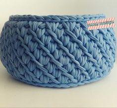 T SHIRT YARN BASKET - Crocheting Journal