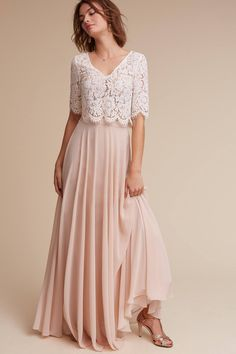 38 Chic And Trendy Bridesmaids' Separates Ideas: blush chiffon maxi skirt and a lace half-sleeve crop top Bridesmaid Dresses 2017, Bridesmaid Separates, Bridesmaid Dresses With Sleeves, 2 Piece Bridesmaid Dress, Bridesmaid Skirt And Top, Wedding Skirt, Rustic Wedding Dresses, Wedding Party Dresses, Junior Formal Dresses