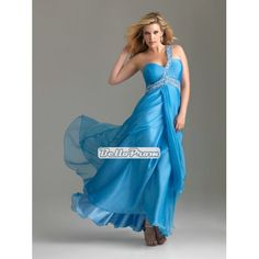 One Shoulder Sweetheart empire beaded chiffon plus size prom dress PD34562 at belloprom.com
