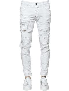DSQUARED2 - 16CM SKATER DESTROYED COTTON DENIM JEANS - JEANS - WHITE - LUISAVIAROMA