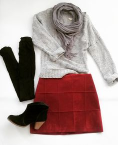 Aeropostale sweater and black booties, thrifted; scarf, Target; tights, gift; faux red suede mini Thrifted Outfit of the Day for sale at Jupe du Jour
