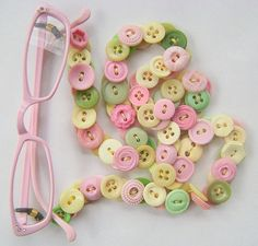 Eyeglasses Chain in Vintage Buttons  Soft Pink and by MRSButtons, $32.00