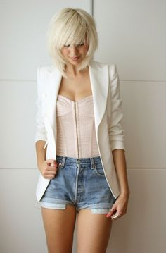 Cute bustier with shorts and white blazer