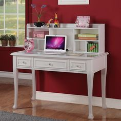 Picket House Jeslyn Solid Pine White Finish Desk with Optional Hutch - I like the idea of a hutch.