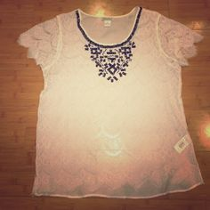 Beautiful beaded and lace top from Lucky Brand Beautiful lace top with intricate beading around the collar. This top is an amazing statement piece to have in your closet. Very unique and timeless. Open to offers! Lucky Brand Tops Blouses
