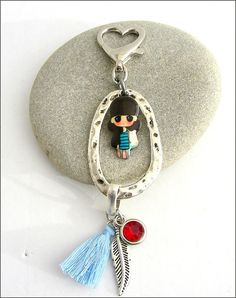 Doll / charms tassel silver key ring Bijou de sac / Key Rings, Tassels, Charms, Doll, Pendant Necklace, Silver, Jewelry, Fashion, Key Pouch