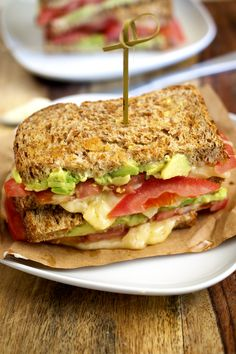 California Style Grilled Cheese made with mashed avocado, tomato and pepper jack cheese. | chefsavvy.com #recipe #cheese #dinner