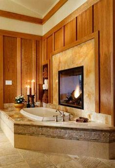 Whirpool Bathtub + Fireplace + YOU + Wine U003d Bathroom Bliss