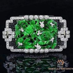A stunning piece from @morelledavidson Art Deco Natural Jade Enamel and Diamonds Brooch/Pin carved floral design.