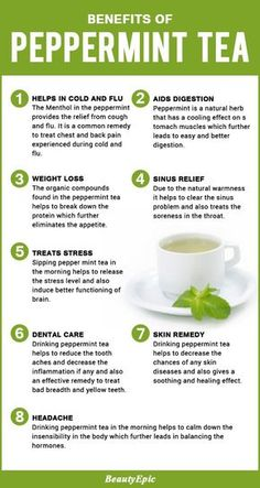 Health Benefits of Peppermint Tea - Dries out cold sores (Herpes virus) quickly - Relieves headaches - Calms an upset stomach (great for kids) - Treats colic in infants - Relieves hay fever symptoms - Helps to heal the shingles virus (applied topically) - Enhances memory and increase alertness - Clears the skin with its antiseptic and antibacterial properties - Reduces inflammation of the respiratory system