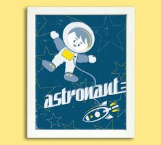 Retro Astronaut Poster  8 x 10 Digital  by Silver Lining Printing on Etsy...SO CUTE