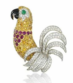 A COLOURED DIAMOND, GEM AND DIAMOND NOVELTY BROOCH, BY CARTIER