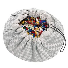 Sac de rangement / tapis de jeu en coton diamant gris Play and go