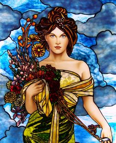 Spring , inspired by Alphonse Mucha | by Stained Glass Painter / Jim M. Berberich