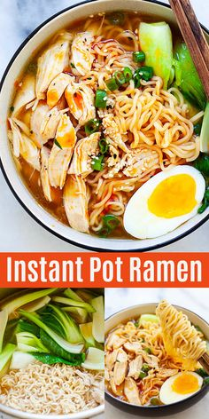 Easy and delicious Instant Pot ramen recipe with tender chicken, ramen eggs, vegetable in a hearty chicken broth. Best Instant Pot Recipe, Instant Pot Dinner Recipes, Healthy Dinner Recipes, Soup Recipes, Cooking Recipes, Easy Ramen Recipes, Best Ramen Recipe, Steak Recipes, Chicken Ramen Bowl Recipe