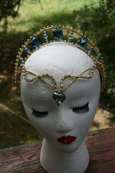 Professional Ballet Headpiece Tiara Blue Gold AB by Angamow Nutcracker Costumes, Ballet Costumes, Belly Dance Costumes, Diamond Crown, Circlet, Fantasy Costumes, Crown Hairstyles, Headpiece Wedding, Tiaras And Crowns