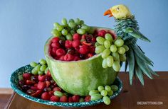 Tropical Parrot Fruit Salad with Tutorial | OneCraftyThing.com