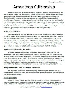 A page from the informational text included in a Social Studies lesson about the rights and responsibilities of being an American citizen. Social Studies Notebook, Social Studies Worksheets, Social Studies Classroom, Teaching Social Studies, Teaching Kids, Homeschool Worksheets, Teaching Tools, Curriculum, Education Humor