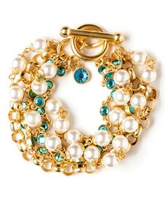 Look what I found on #zulily! Gold & Faux Pearl Sparkle Toggle Bracelet #zulilyfinds