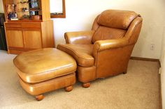 Mid century leather chair and ottoman Classic by AntiqueAddictions, $495.00
